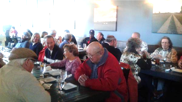 Ed, in red jacket, joined us for lunch during our visit to Hamilton
