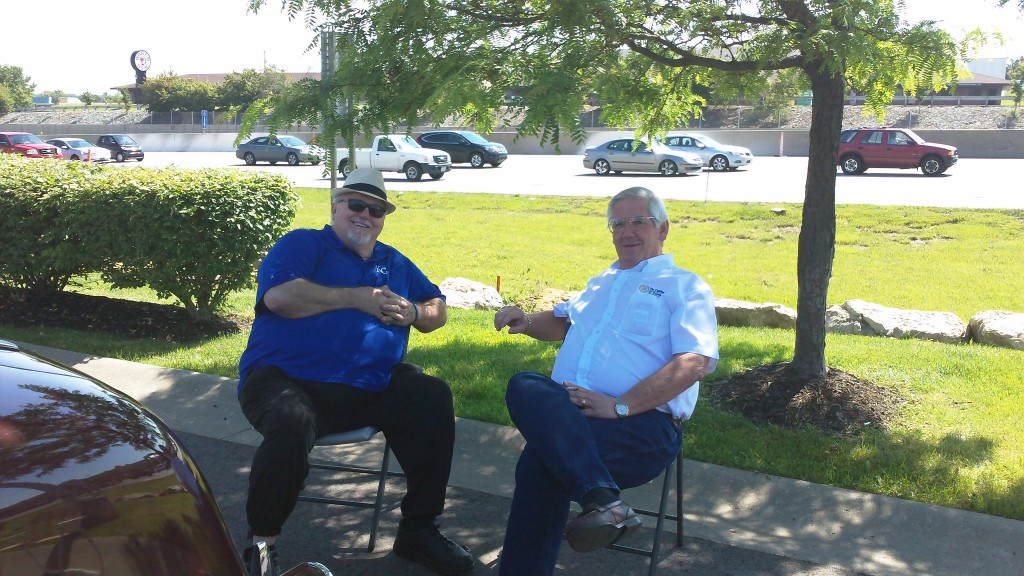 Tom T. and Doug take a moment to relax.