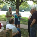 Members gather for some coffee and treats at Burr Oak Woods