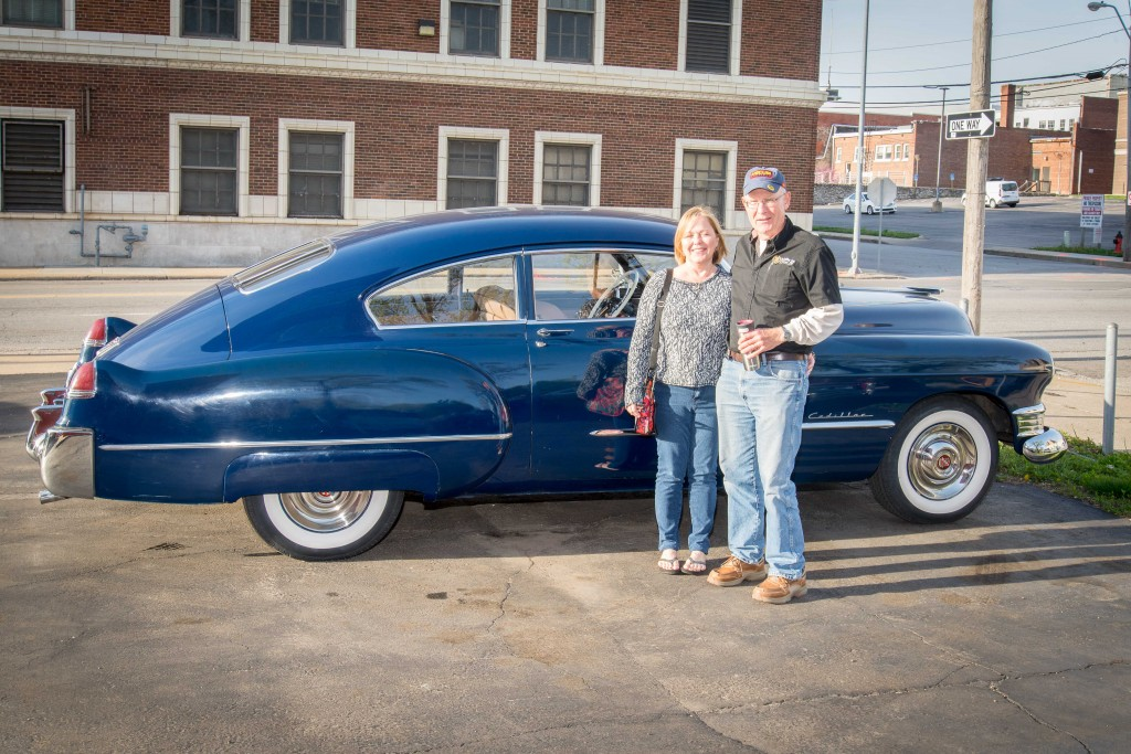 Karen and Steve pose in front of the '49