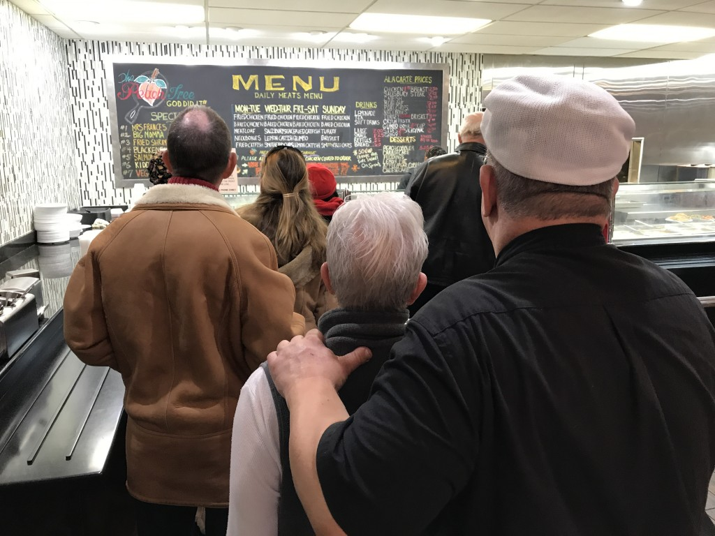 Queuing up for some hearty soul food at the Peachtree.
